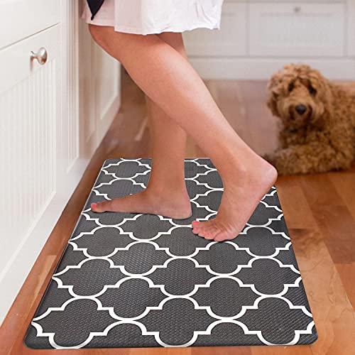 EARTHALL Kitchen Mat Cushioned Anti-Fatigue Floor Mat, 17.7'x30', Waterproof Non-Slip Black Trellis Kitchen Rug Ergonomic Comfort Standing Mat for Kitchen, Home, Office, Sink, Laundry, Desk
