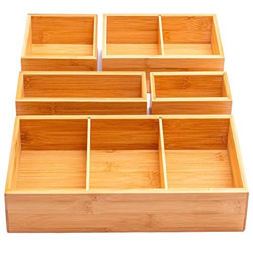 Winged Sirius Schubladen-Organizer aus Bambus, 5-teilig, verschiedene Fächer mit herausnehmbaren Trennwänden, Set mit 5 robusten Aufbewahrungsboxen aus Holz mit extra Fußpolstern für Zuhause und Büro
