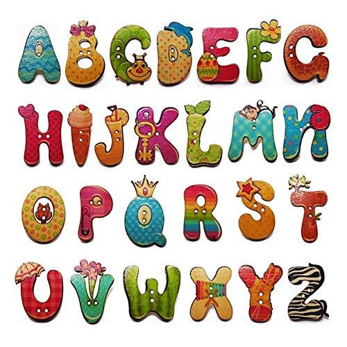 Botones 26 unids Historieta Mixta 26 Colores Pintura Alfabeto Grande A-Z Botones...