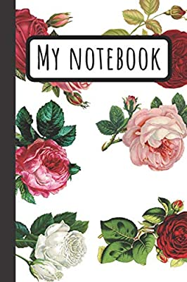 Daily Writing Journal with Red Pink and White Roses