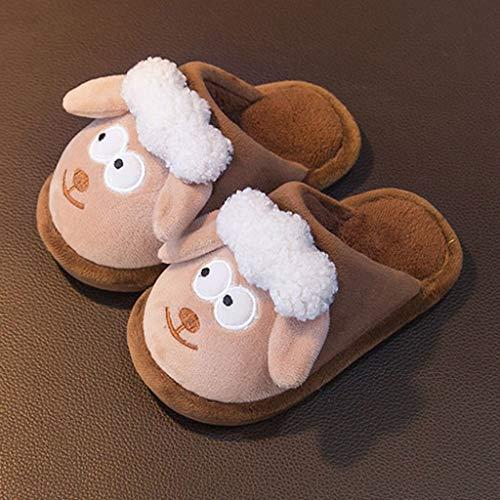 NXYJD Zapatillas for niños Tela de algodón de Tela de algodón Zapatos de Interior for niños niñas mantengan Calientes sin Deslizamiento niños Peluche de pie Zapatillas de Piso