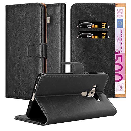 Cadorabo Hülle für Asus ZenFone 3 Deluxe - Hülle in Graphit SCHWARZ – Handyhülle im Luxury Design mit Kartenfach & Standfunktion - Hülle Cover Schutzhülle Etui Tasche Book
