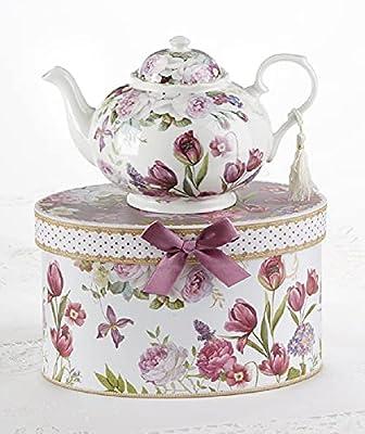 "9.5 x 5.6"" Porcelain Tea Pot in Gift Box, Tulip"