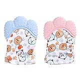 IWILCS 4 Stücke Baby Teething Mitten, Silicone Teether Toy Glove, BPA free Silicon-Babys Handschuh Stimulierendes Beißring-Spielzeug für Jungen und Mädchen