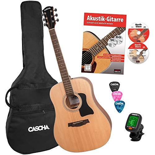 CASCHA Westerngitarre Einsteiger Set HH2141 I Rechtshänder Gitarre inklusive Gitarre Lehrbuch CD DVD Stimmgerät für Western Gitarre Gigbag Dreadnought & 3 Plektren I Stahl Gitarrensaiten 6-saitig