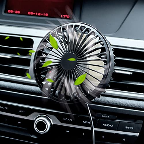 Zuvas Car Fan USB Fan with Night Light, 360° Rotation Clip Fan for Vehicle Air Circulation, 3 Wind Speed Air Conditioner Cooling Fan for Car Truck SUV RV Outdoor, Black