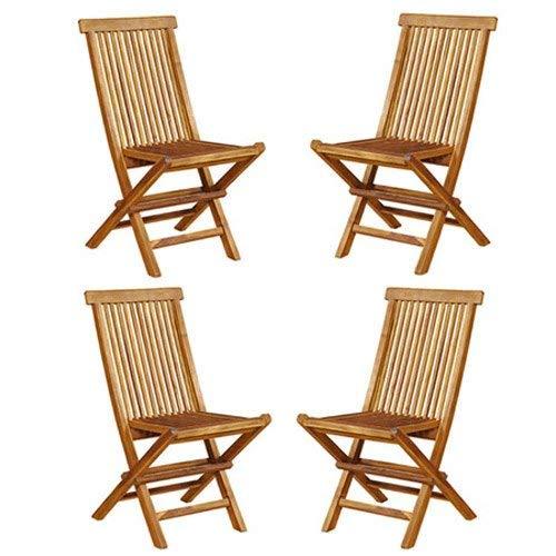 BOIS DESSUS BOIS DESSOUS Juego de 4 sillas Plegables de jardín en Madera de Teca