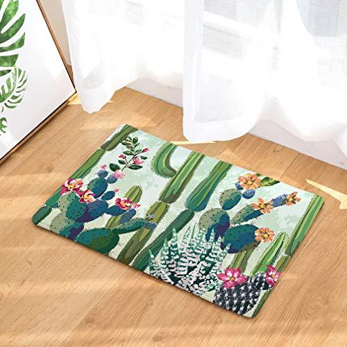 Lihan Lavable Alfombra de Impresión Diseñador Alfombra de Franela Antideslizante Alfombra Tapetes de Puerta Súper Absorbente felpudos, Cactus 3 50 * 80cm/20 * 32inch
