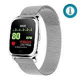 Fitness Tracker, Reloj Inteligente a Prueba de Agua Ip67, se Puede Usar para medir la Temperatura Corporal, la frecuencia cardíaca y el podómetro del sueño-(Plata)
