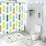 Duschvorhang-Set mit rutschfesten Vorlegern, WC-Deckelbezug & Badematte, blau-gelbe Ananas-Duschvorhang, mit 12 Haken, niedliche Ananas-Badezimmerdekoration, wasserdicht, 4 Stück