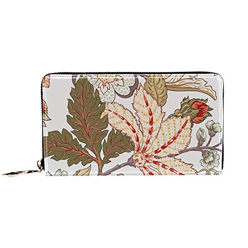 XCNGG Damen Reißverschluss um Brieftasche und Telefon Clutch, Reisetasche Leder Clutch Bag Kartenhalter Organizer Wristlets Wallets, Vintage Flower Clip Art
