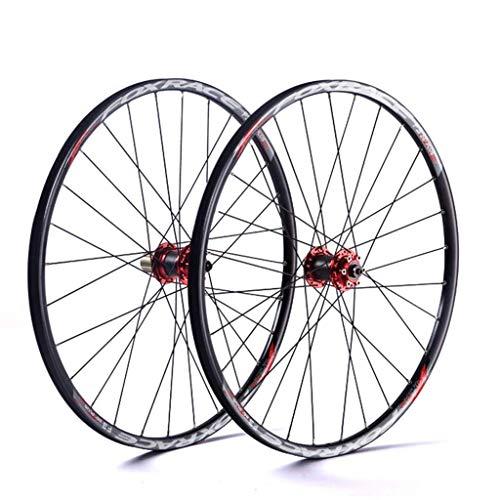 WYN Racing Bike Wheelset for 26 27,5 29 Pouces Double Mur Double MTB Rim Rim Drum DE Drum DE Disque DISTRIBUTE Remarque VTT VTT VTT VTT 24H 7 8 9 10 Vitesse (Color : Red, Size : 27.5inch)