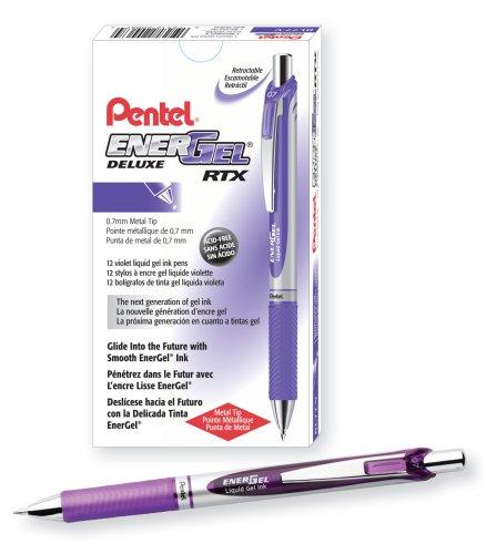 Pentel EnerGel Deluxe RTX Gel Ink Pen, 0.7 Millimeter Metal Tip, Violet Ink, Pack of 12