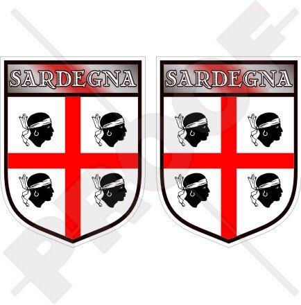 Sardinien sardischen Shield Italien Sardegna Italienisches 75mm (7,6cm) Bumper Sticker, Aufkleber Vinyl X2