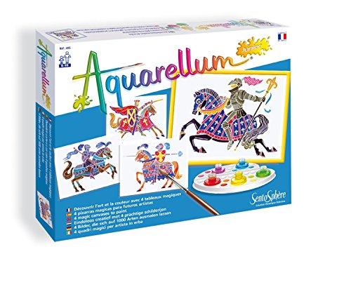 Sentosphere 00695 - Aquarellum Junior: Reiter Set mit 4 Ausmalbildern 18 x 25 cm, 5 Tintenflakons, Mischpalette, Pipette und Pinsel