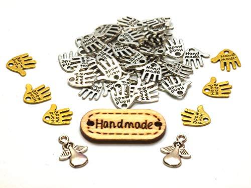 Kreativkomplettset  50 Hände  6 Goldhände  2 Engelanhänger 1 Holzlabel Hand Made Metall Knopf Label Labelkomplettset Bastelset Anhänger Schmuckkperlen Bastelperlen Hand Schild