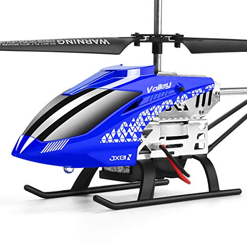 Helicopter with Remote Control, JJRC JX01 3.5CH Rc Helicopter Altitude Hold Toy Helicopter with 2Batteries, Gyro 2.4GHz and LED Light for RTF Crash Resistance Helicopter RC Drone Toy Gift (Blue)
