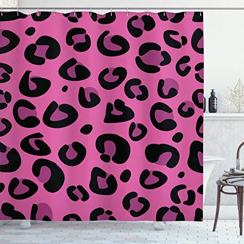 ABAKUHAUS Hot Pink Duschvorhang, Leopard Tierhaut, Moderner Digitaldruck mit 12 Haken auf Stoff Wasser & Bakterie Resistent, 175 x 180 cm, Pink Fuchsia Black