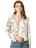 Allegra K Women's Floral Blazer Long Sleeves Fall Button Down Jacket M White
