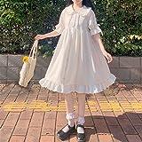 Yunbai Japonés Dulce Lindo muñeco Collar Vestido Lolita Verano Nuevo gótico Blanco Angel Kawaii Lolita Vestidos Diarios Disfraces de Fiesta (Color : White, Size : Large)