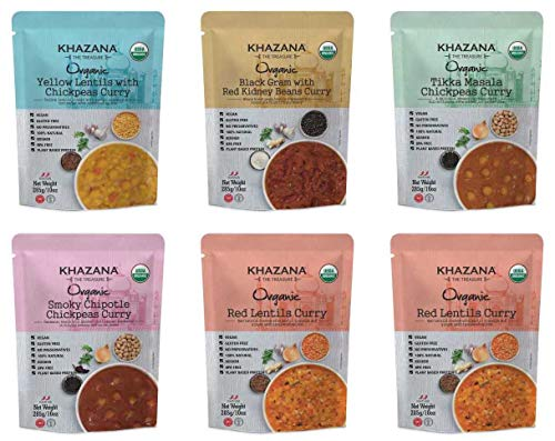 Vegan Organic Ready to Eat Indian Meals Variety Pack - 6 x 10oz Pouches | Non-GMO, Gluten Free & Kosher | Authentic Cuisine in 90 Seconds!