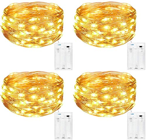 HVTKL Indoor fairy lamp battery [4 packs], 5M 50 LED copper wire battery powered microstructure, used for Christmas bedroom wedding birthday party DIY Decoration (warm white) (Color : Warm White)