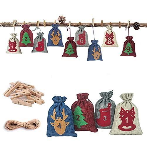 Hktec 24 unidades de calendario de Adviento de Navidad de cuenta atrás para 24 días de árbol de Navidad, decoración para colgar dulces para manualidades, Navidad o fiestas