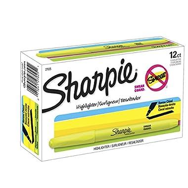 Sharpie Accent Pocket-Style Highlighters, Fluorescent Yellow , Chisel Tip, Dozen – 27025