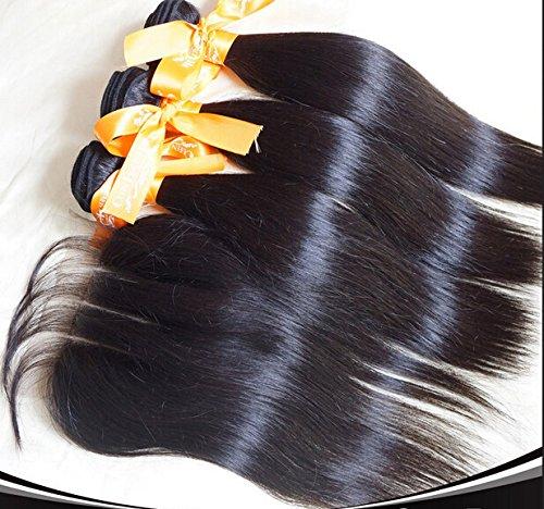 """Wholesale 8A 3 Part Frontal Lace Closure With Bundles Straight Brazilian Virgin Hair Bundle Deals 3Bundles And 4""""X4"""" Closure Natural Color 14""""closure+14""""16""""18""""weft"""