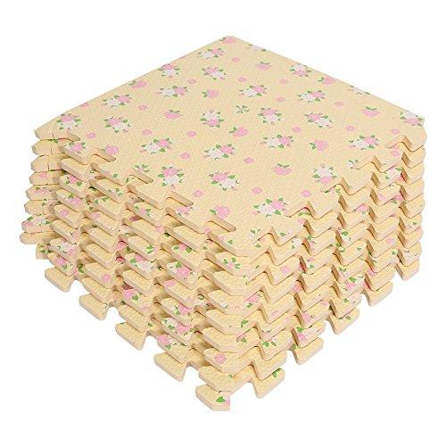 9pc Alfombra Puzzle de Espuma EVA Estera para Bebés, Alfombra de Goma para Niños Gimnasio, Zona de Juegos, Yoga Hogar Decoración, 30cm x 30cm x 1.0cm Rosa (Amarillo)
