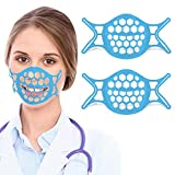 Ugraded 2 Packs Mask Bracket, TOOVREN Silicone Mask Bracket, Mask Brace for Easier Breathing, Plastic Mask Insert, Mask Support Frame, 3D Mask Bracket, Mask Inserts for Breathing Room, Mask Guard Blue