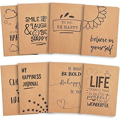 Juvale Cuadernos Kraft (paquete de 8) - Cuadernos Kraft forrados en blanco - Tapa blanda, 80 páginas cada uno, Marrón, 5.8 x 8.3 pulgadas
