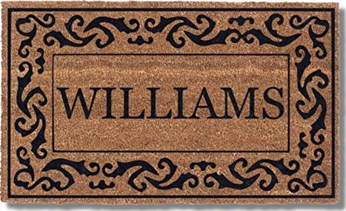 Coco Mats N More Black Rolling Scrolls Bordered Personalized Coco Doormat 18 x 30 with Vinyl product image