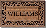Coco Mats 'N More Black Rolling Scrolls Bordered Personalized Coco Doormat 18' x 30' with Vinyl Backing | Thick Outdoor Personalized Mats for Front Door | Minimal Shedding | Non-Slip Vinyl Backing