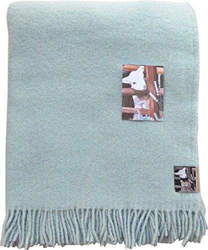 Silkeborg Zartblaue Wolldecke 'Babyblue' aus 100% neuseeländischer Schurwolle, ca 200x130cm mit Fransen, 850g