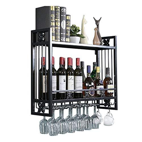 FYHH-JZHY Estante De Vino Montado En La Pared Soporte De Vidrio Moderno Al Revés Soporte De Botella De Vino Colgante Estantes De Metal Y Copa De Vino para Barra Y Estante De Almacenamiento De Cocina
