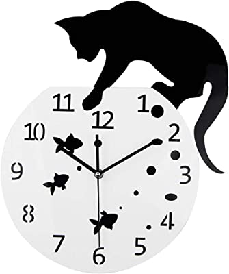 Nazaka | Wall Clocks | 1 Piece 3D Home Decor Acrylic Wall Clock Cat and Fish