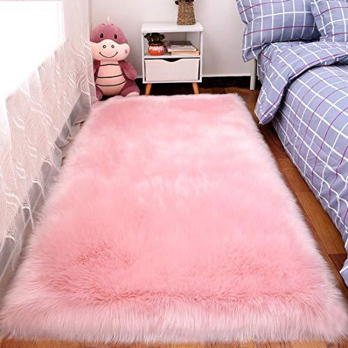 Wissec Tappeto rettangolare in finta pelle di pecora, in pelliccia sintetica, morbido, antiscivolo, per soggiorno, camera da letto, divano, 70 x 135 cm, rosa