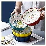 Plato de porcelana 400 ml de ventas de cerámica Bowl Fruit Ramen Fideos Placa para el hogar Vajilla Ensalada Postre Bowl Restaurante Suministros de cocina (Color : Green)
