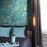 Papel pintado con flores turquesa Van Gogh Floral Azul Almendro Flor Vintage para Dormitorio Cocina Salón Incluye Pasta Maestro para Papel pintado