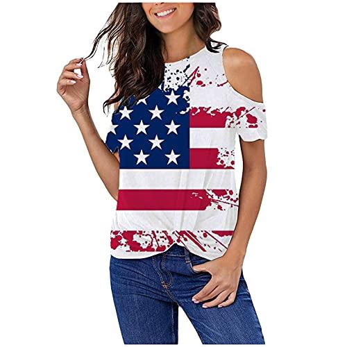 차가운 여자의 어깨 탑 4 일의 재미있는 미국 국기 인쇄 O-목 튜닉 캐주얼한 느슨한 짧은 소매 블라우스
