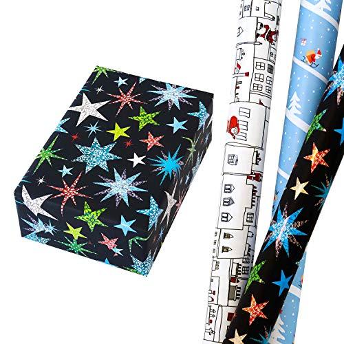 Geschenkpapier Weihnachten Set 3 Rollen (75 x 150 cm), bunte Matt-Glanz-Sterne + lustige Santa Schlittenfahrt + originelle Stadtkulisse mit Weihnachtsmann. Für Geburtstag, Weihnachtsgeschenkpapier.