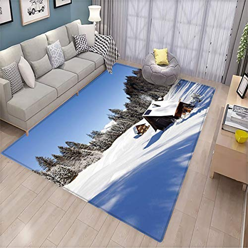 Winter Decorative Floor mat Log Cabins in The Mountains Sunny Winter Day Rural Scene Holiday Vacation Interesting Floor mat 6.6'x9'