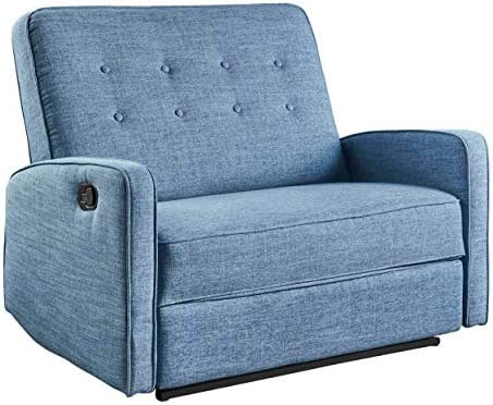 Best Christopher Knight Home Calliope Buttoned Fabric Reclining Loveseat, Muted Blue / Black