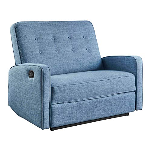 Christopher Knight Home Calliope Buttoned Fabric Reclining Loveseat, Muted Blue / Black