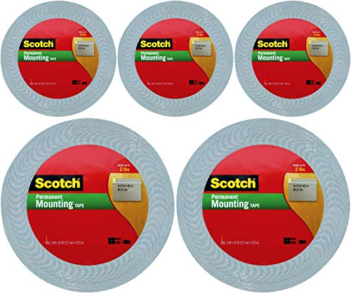 Scotch 1/2-Inch by 36-Yard Double-Sided Foam Tape, Off-White (4016), 5 Pack