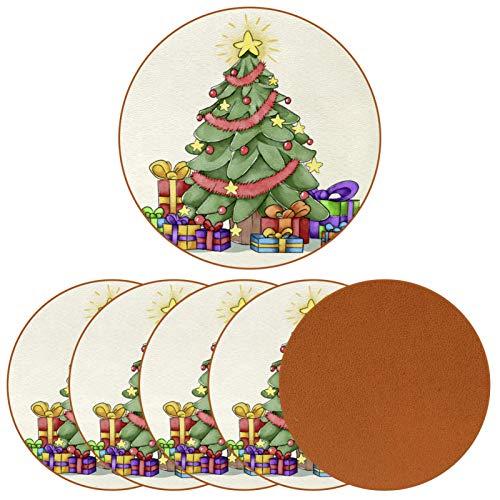 Juego de 6 posavasos redondos de cuero para bebidas, taza de café para mesa de madera, árbol de Navidad pintado y caja de regalo para cumpleaños