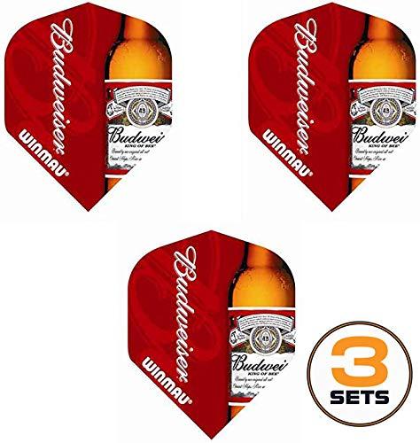 Art Attack Winmau Mega Red Budweiser Dart-Flights, King of Beers, 75 Mikron stark, 3 Sets