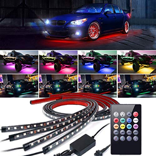 EJ's SUPER CAR 4PCs Car Neon Underglow Underbody LED Light Kit, Undercar Strip Lighting, High Intensity LED Rock Lights w/Sound Active Function and Wireless Remote Control