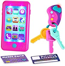 JOYIN Play-act Pretend Play Smart Phone, Key Toy and Credit Cards Set Accessories